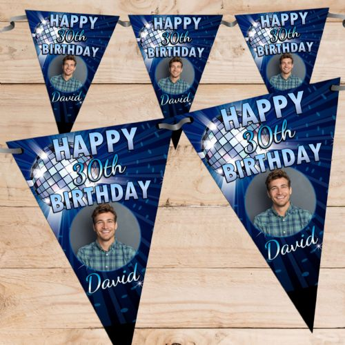 Personalised Blue Disco Glitz Happy Birthday Flag PHOTO Bunting Banner - N69 ANY AGE